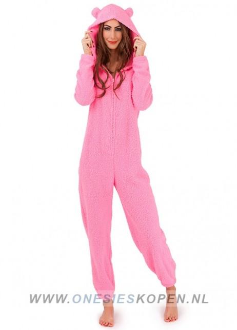 pluffy onesie pink
