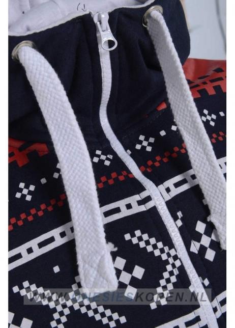 Dark navy onesie aztecprint voor detail