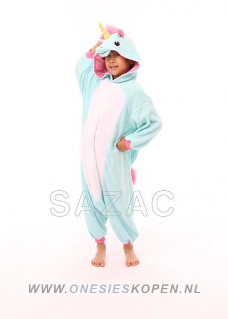 sazac blauwe eenhoorn onesie kids blue unicorn