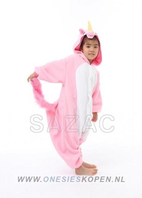 sazac roze eenhoorn onesie kids pink unicorn side
