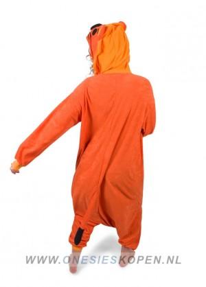 oranje leeuw kigurumi onesie achter