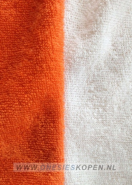 oranje leeuw kigurumi onesie detail stof