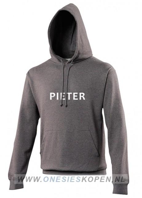 donkergrijze hoodie bedrukt pieter