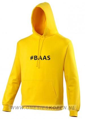 gele hoodie bedrukt baas