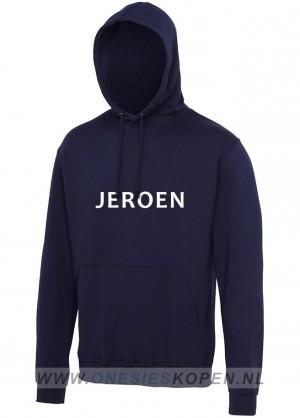 navy hoodie bedrukt jeroen