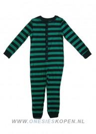 onesie kids katoen groen zwart gestreept