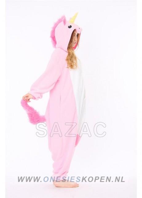 sazac roze eenhoorn onesie pink unicorn side
