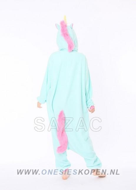 Blauwe unicorn onesie kigurumi sazac achter