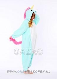 Blauwe eenhoorn onesie kigurumi sazac zij