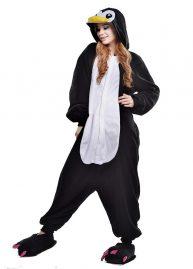 pinguin onesie zwart voor