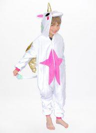 Eenhoorn onesie Gold winged unicorn kids front