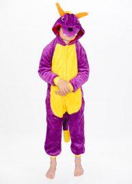 Paarse draak onesie purple dragon kids back