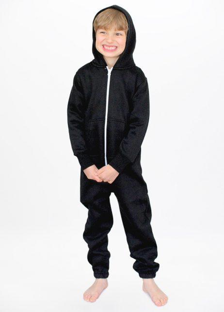 Zwarte onesie black kids front hood