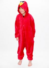 Red monster onesie kids front hood