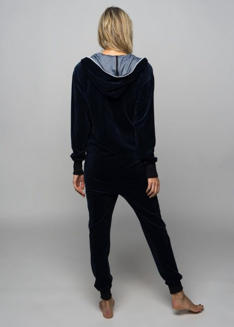 sofakiller verlours onesie dark blue women back